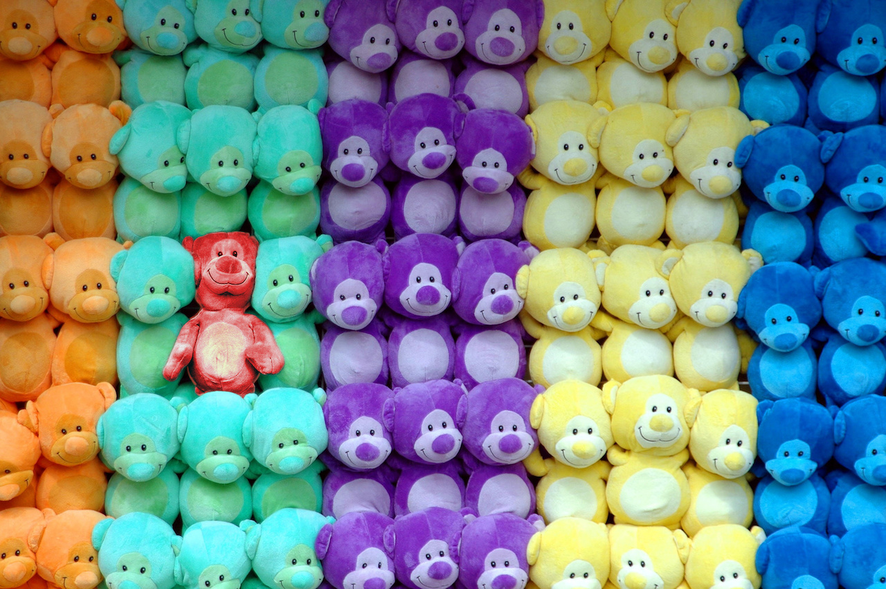 Teddy bear standing out
