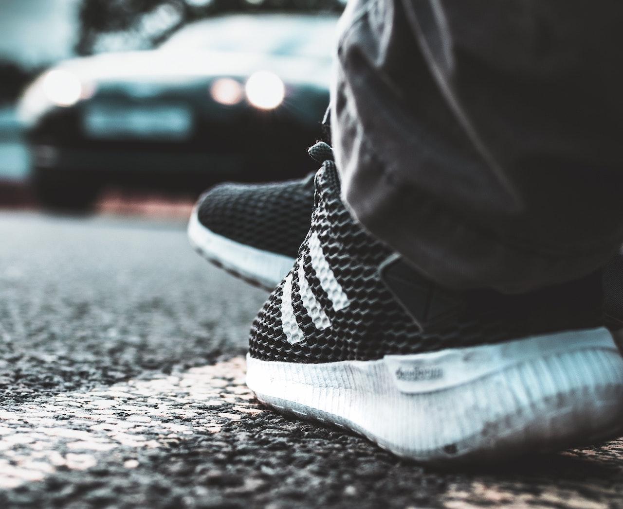 Roadside shoes, car passing