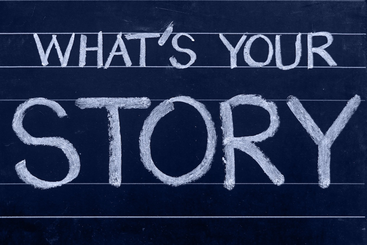 What's your story written on chalkboard