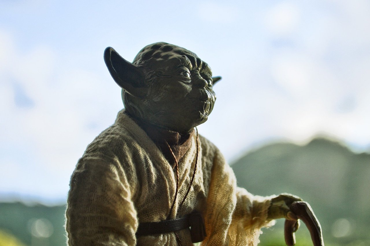 Yoda from Star Wars, contemplating