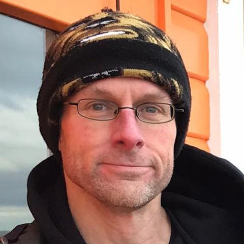 Stef Dawson outside a beach hut on Scarborough pier
